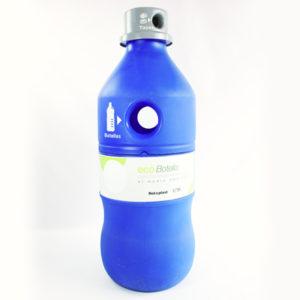 Ecobotella azul para reciclar botellas y tapas estra