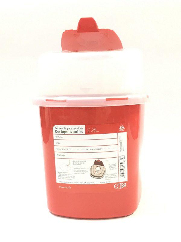 Recipientes para residuos cortopunzantes de 2.8 litros estra