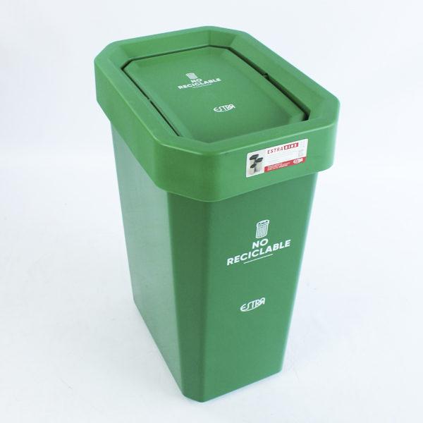 Papeleras plásticas verde estra