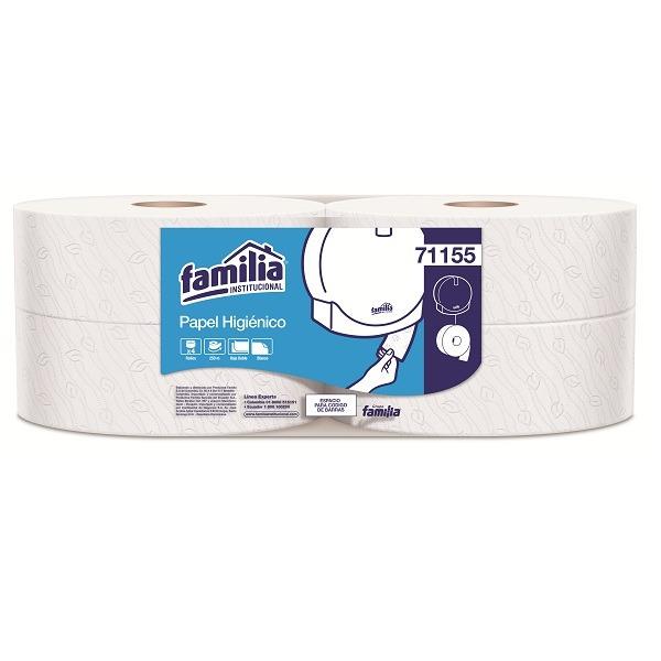 Papel higiénico blanco doble hoja por 250 metros familia