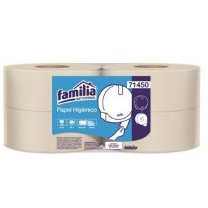 papel higiénico doble hoja color natural familia